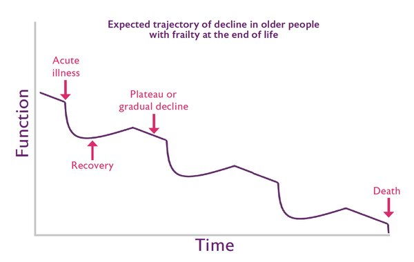Expected trajectory of decline in older people with frailty at the end of life